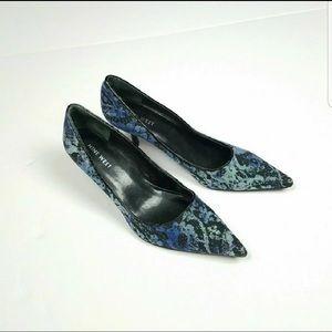 Nine West Blue Textured Kitten Heels